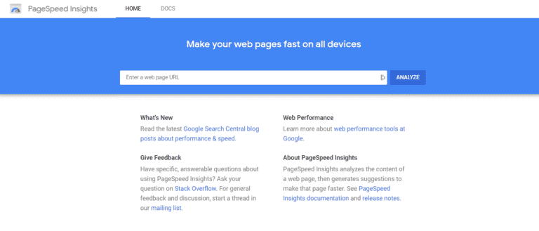 Screenshot of the landing page of Google Page Speed Insights showing where to input the your website's domain name.
